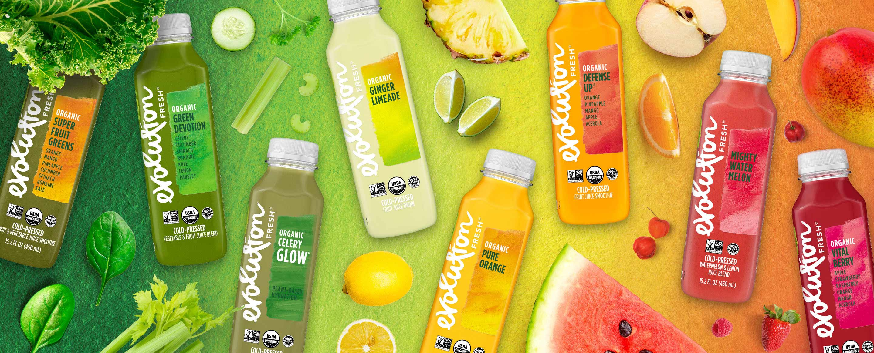 Image of various Evolution Fresh juices
